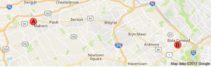 Map of Masterpeice Multimedia Store Locations in Malvern and Bala Cynwyd PA